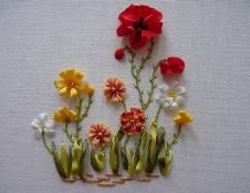 Wild Flowers made out of silk ribbons