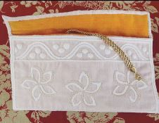 Silk jewelry clutch - boutis and embroidery